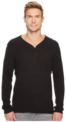 Calvin Klein Jeans Waffle Y-Neck Henley Shirt Men's Long Sleeve Pullover