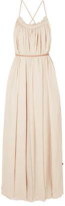 Caravana - Muul Leather-trimmed Cotton-gauze Maxi Dress - Ecru
