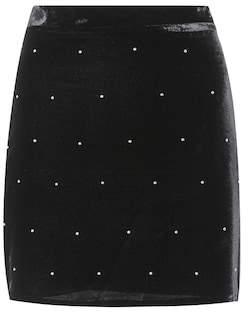 Amiri Studded velvet miniskirt