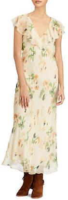 Polo Ralph Lauren Ruffled Floral Silk Dress