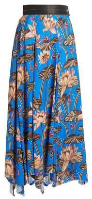 Loewe X Paulas Ibiza Floral Print Asymmetric Hem Skirt - Womens - Blue Print