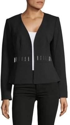 Kasper Suits Crepe Fly Away Embellished Jacket