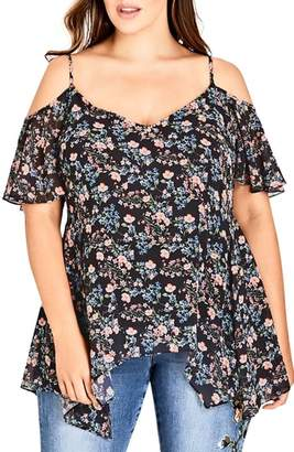 City Chic Baby Floral Cold Shoulder Top