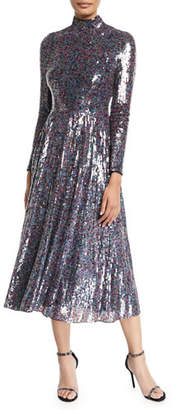Escada Long-Sleeve Mock-Neck Sequined Midi Dress