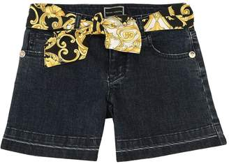Versace Stretch Cotton Denim Shorts
