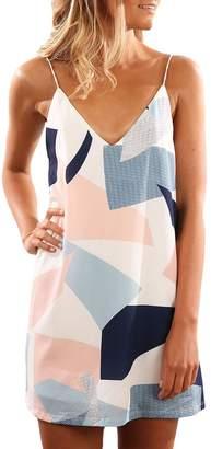 Express ED Women Sleeveless V Neck Palm Print Strap Dress Casual Sundress(FBA $9.99)