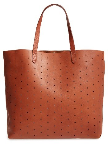 Madewell Transport Perforated Leather Tote - Brown