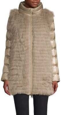 Herno Stripy Fox Fur Bodice Quilted Coat