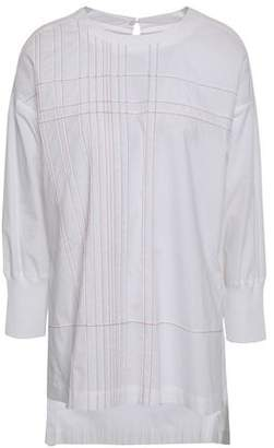 DKNY Embroidered Cotton-poplin Blouse