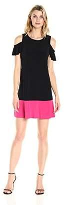 Tiana B Women's Cap Sleeve Cold Shoulder Colorblock Dress