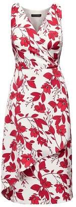 Banana Republic Petite Floral Wrap-Effect Midi Dress
