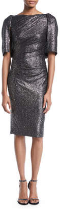 Talbot Runhof Lobata Cape-Sleeve Glitter Jersey Sheath Cocktail Dress