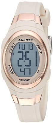 Armitron Sport Women's 45/7034PBH Rose Gold-Tone Accented Digital Chronograph Blush Pink Resin Strap Watch