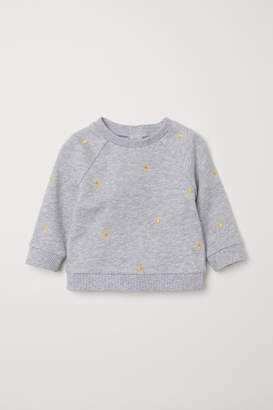 H&M Sweatshirt with Embroidery - Gray