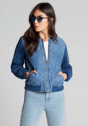 Bella Dahl Quilted Bomber Jacket-Artist Wash-XS $196 thestylecure.com