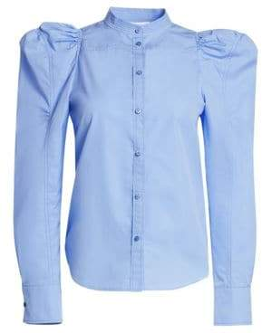 Chloé Cotton Poplin Puff-Sleeve Blouse
