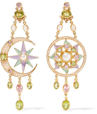 Papi Percossi Gold Plated And Enamel Multi Stone Earrings Green
