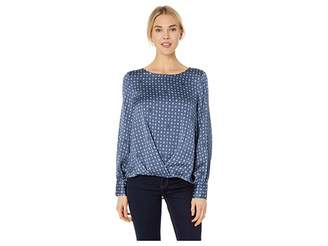 Vince Camuto Long Sleeve Geo Accents Puff Sleeve Fold-Over Blouse