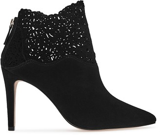 REISS Peyton Lasercut Pointed Toe Booties $425 thestylecure.com