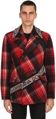 Dolce & Gabbana Double Breasted Wool Plaid Coat