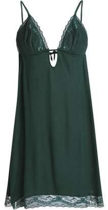 Eberjey Corded Lace-Trimmed Jersey Slip Dress