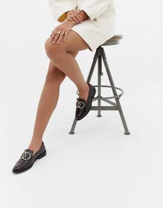 Asos Design DESIGN Melbourne leather ring loafer flat shoes