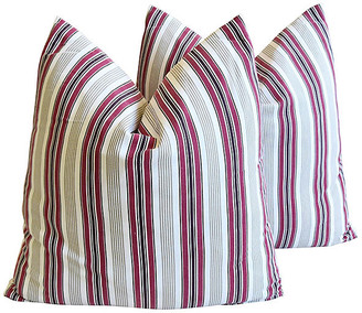One Kings Lane Vintage French Striped Pillows - Set of 2