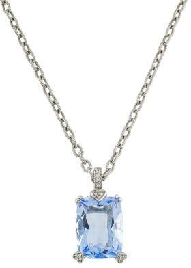 Judith Ripka Synthetic Quartz & White Sapphire Pendant Necklace