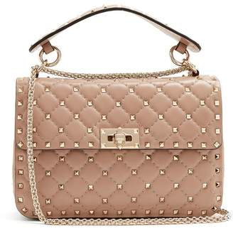 Valentino Rockstud Spike Medium Quilted Leather Shoulder Bag - Womens - Nude
