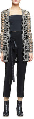 Monique Lhuillier Open-Weave Long Cardigan