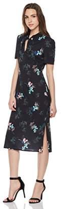 Suite Alice Tie Neck V Cut Short Sleeve Print Dress Natural Print