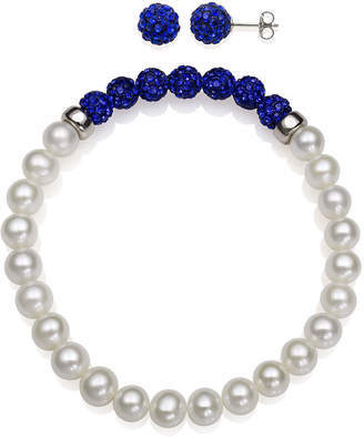 FINE JEWELRY 6-7Mm Cultured Freshwater Pearl And 6Mm Blue Lab Created Crystal Bead Sterling Silver Earring And Bracelet Set