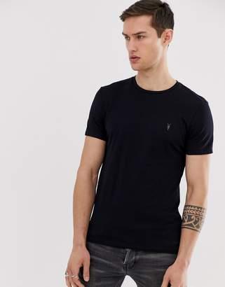 AllSaints ramskull logo t-shirt in navy