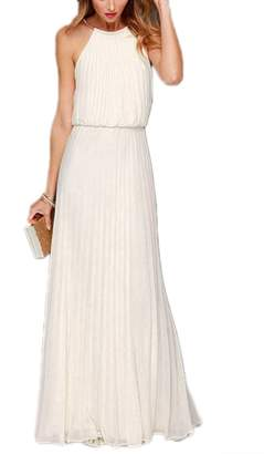 Yacun Women's Halter Sleeveless Floor-Length Pleated Party Bridesmaid Dress XL