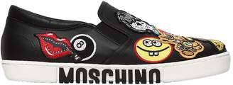 Moschino 20mm Patches Leather Slip-On Sneakers