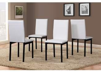 Roundhill Furniture Roundhill Noyes Faux Leather Seat Metal Frame White Dining Chairs , Set of 4