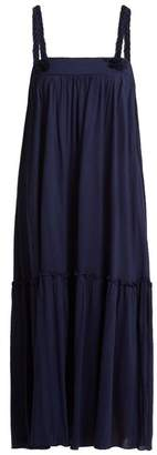 See by Chloe Square Neck Braid Trimmed Jersey Dress - Womens - Navy