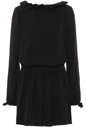 Saint Laurent Long-sleeved silk minidress