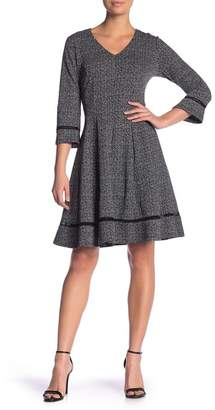 Robbie Bee Fit & Flare Printed Knit V-Neck Dress