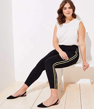 LOFT Plus Shimmer Side Stripe Skinny Jeans in Black