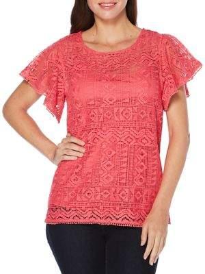 Rafaella Flutter Sleeve Crochet Lace Tee
