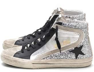 b76f972e1307 Golden Goose Slide Sneakers in Silver Glitter Leather/Black Star