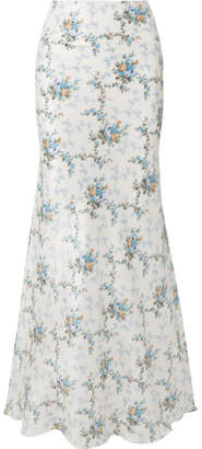 Brock Collection Sophie Floral-print Silk-taffeta Maxi Skirt - Blue