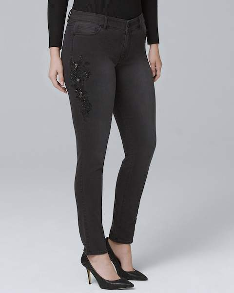 Whbm Curvy-Fit Classic-Rise Embellished Skinny Ankle Jeans