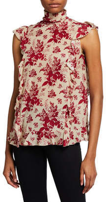 RED Valentino Floral Tapestry-Print Sleeveless Ruffle Blouse
