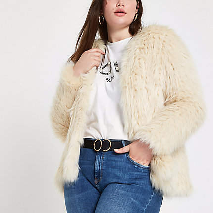 Womens Plus Cream knitted faux fur coat