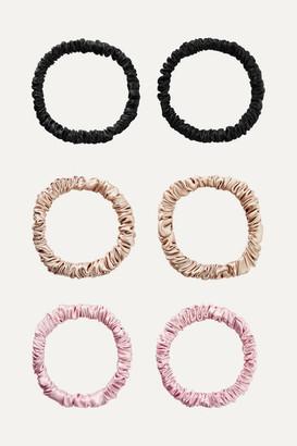 styling/ Slip - Set Of Six Skinny Silk Hair Ties - Metallic