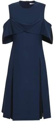 ADEAM Pleated Chiffon-paneled Draped Wool-blend Dress
