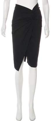 Donna Karan Bow-Accented Wool-Blend Skirt