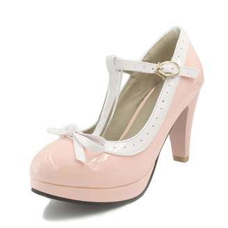 fd9108f30ab SaraIris Women Chunky High Heel T-Strap with Little Bow Knot Ankle Strap  Pump Shoes